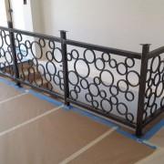 metal railing, metal banister, bubble railing, circular, abstract