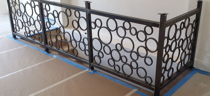 metal railing, metal banister, bubble railing, circular, abstract